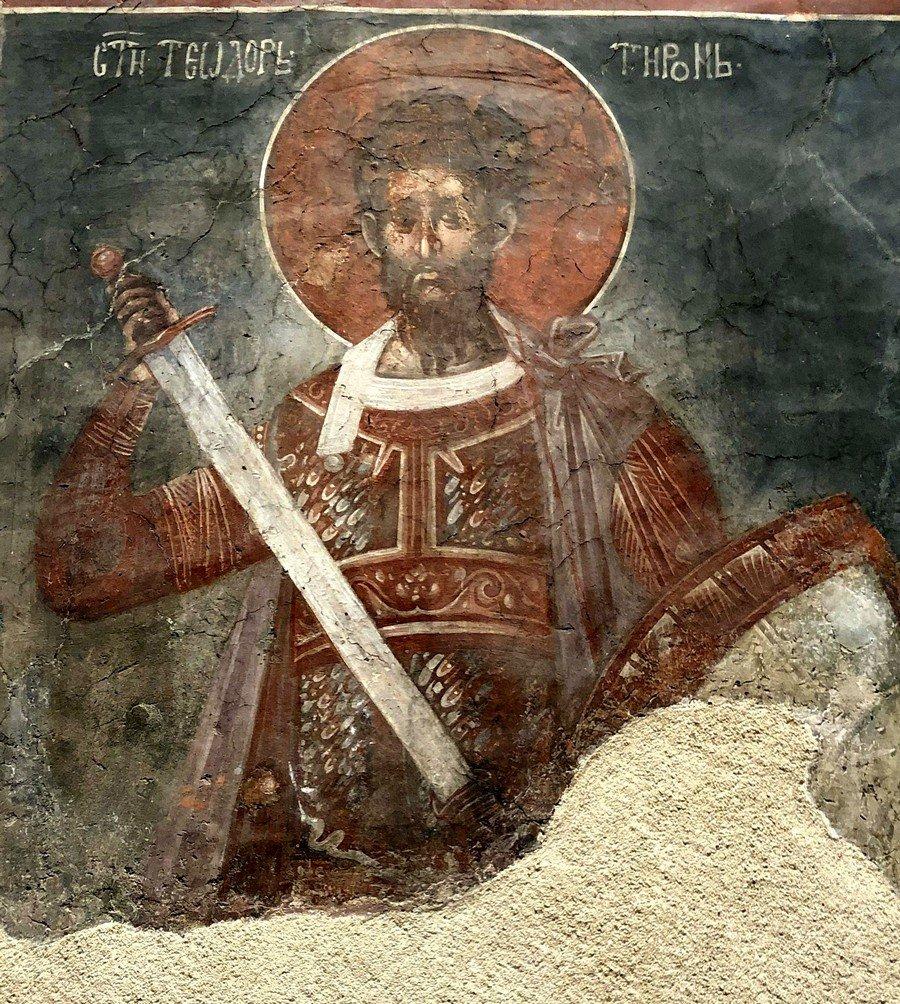 Святой Великомученик Феодор Тирон. Фреска монастыря Грачаница, Косово и Метохия, Сербия. Около 1320 года.