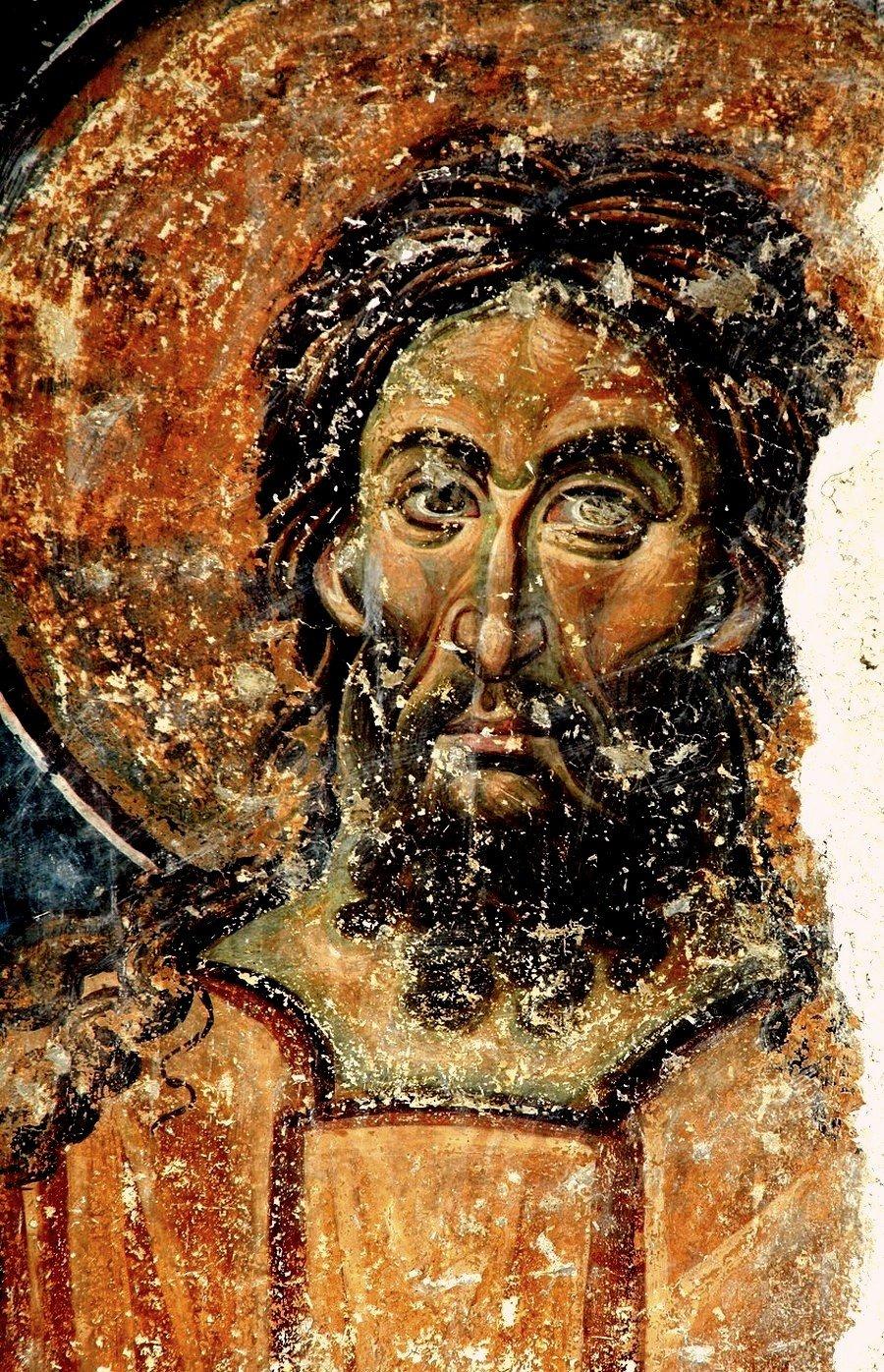 Святой Преподобный Алексий, человек Божий. Фреска церкви Вознесения Господня в монастыре Милешева (Милешево), Сербия. XIII век.