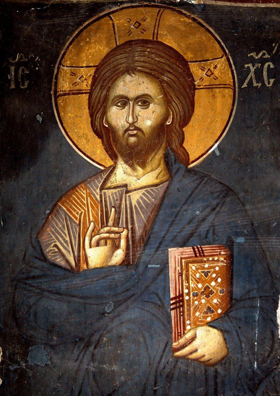 Христос Пантократор. Фреска церкви Спаса в Кучевиште, Македония. 1330 - 1340-е годы.