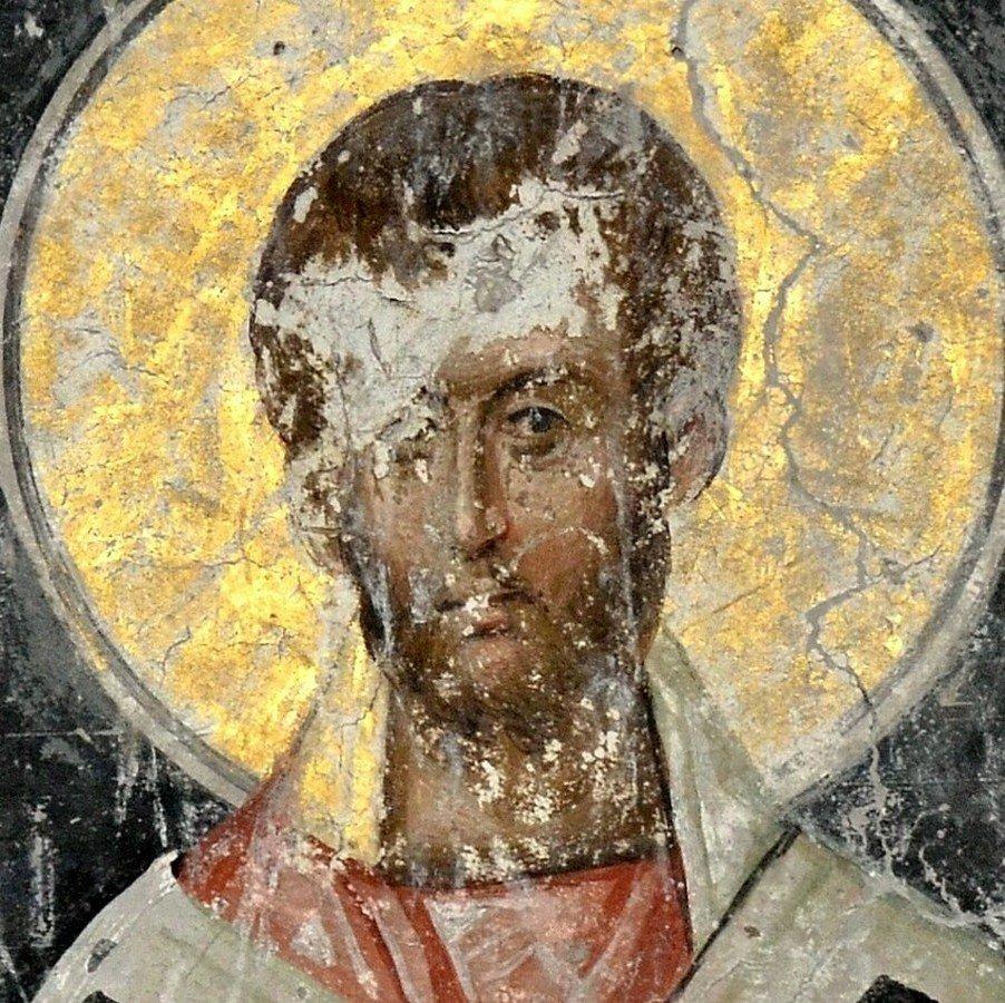 Святитель. Фреска церкви Святой Троицы в монастыре Манасия (Ресава), Сербия. До 1418 года.