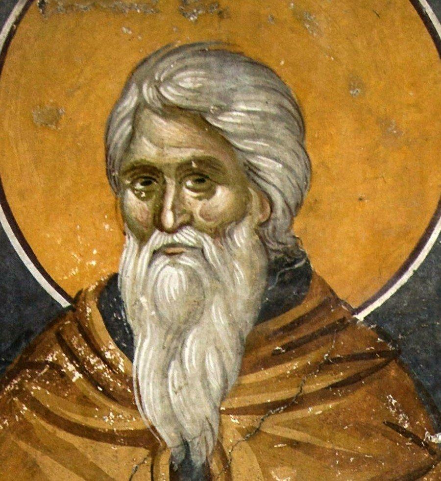 Святой Преподобный Иоанн Лествичник. Фреска монастыря Грачаница, Косово и Метохия, Сербия. Около 1320 года.