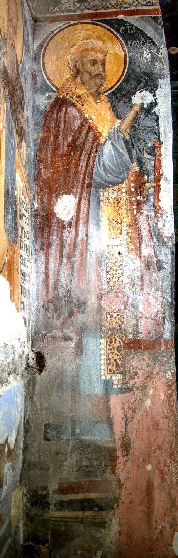 Святой Преподобный Зосима Палестинский. Фреска монастыря Трескавац (Трескавец), Македония.