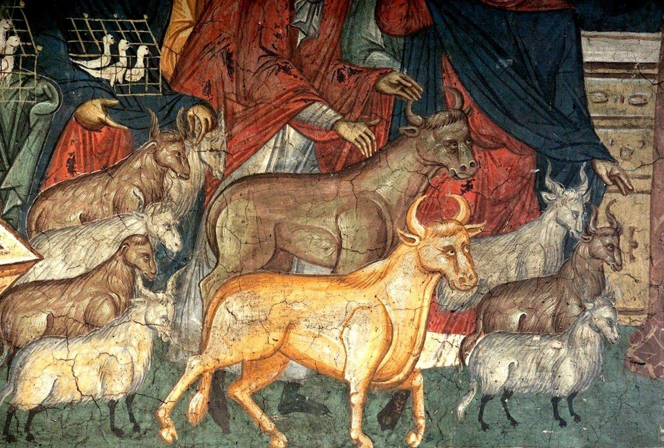 Изгнание торгующих из храма. Фреска монастыря Высокие Дечаны, Косово и Метохия, Сербия. До 1350 года. Фрагмент.