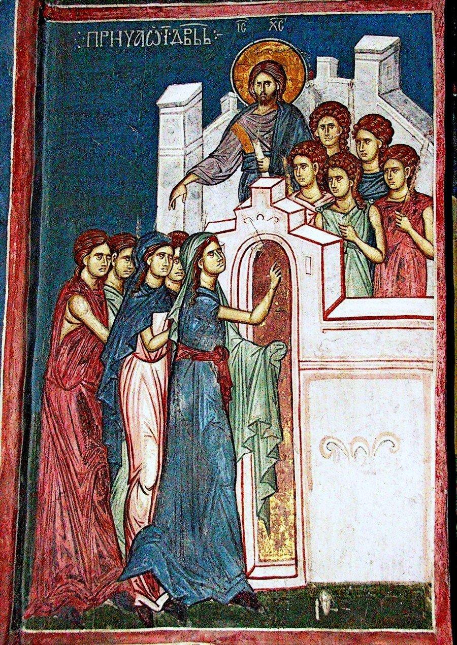 Притча о десяти девах. Фреска монастыря Высокие Дечаны, Косово и Метохия, Сербия. До 1350 года.