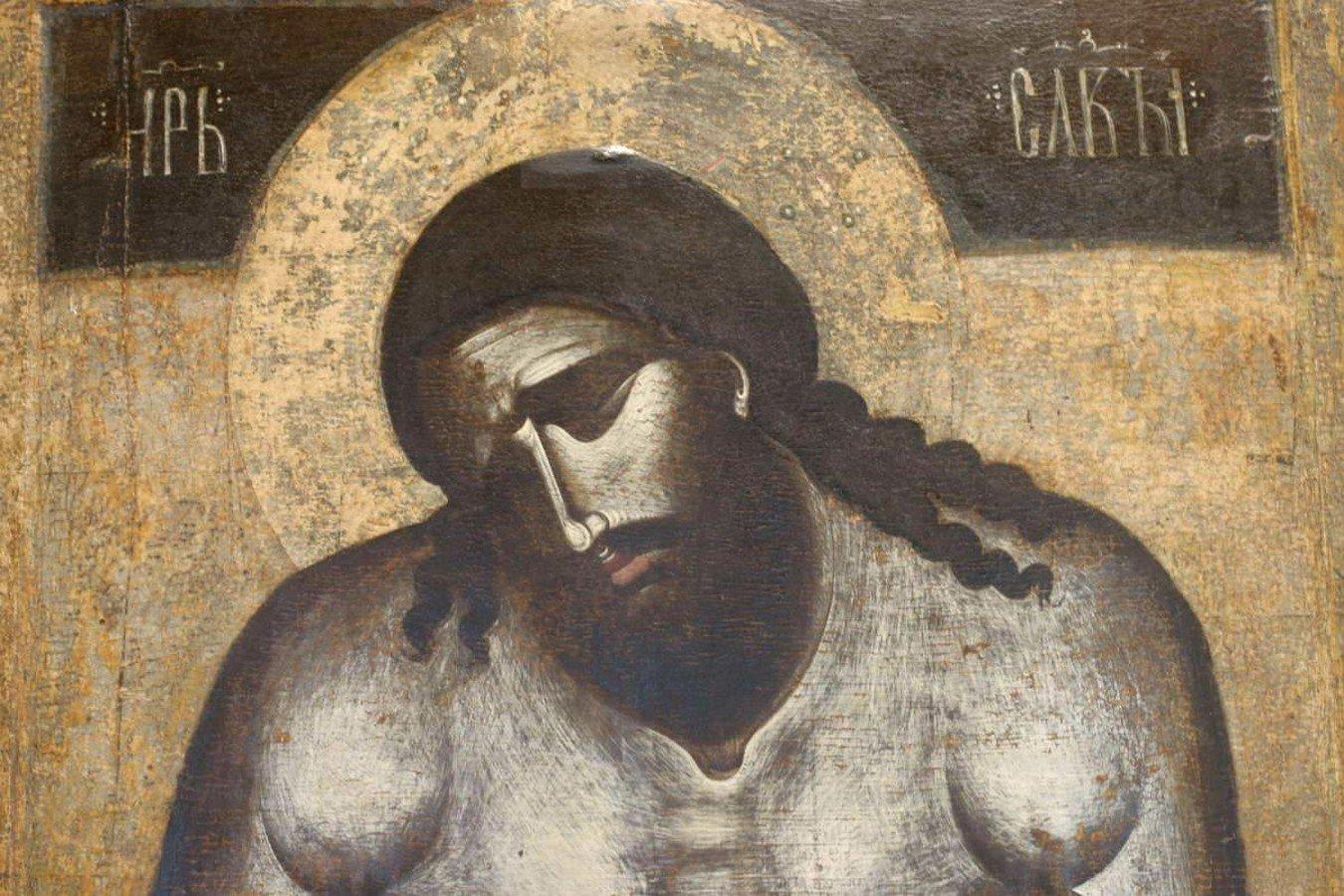 Христос во гробе (Христос Царь Славы). Балканская икона XIV века. ГТГ. Фрагмент.