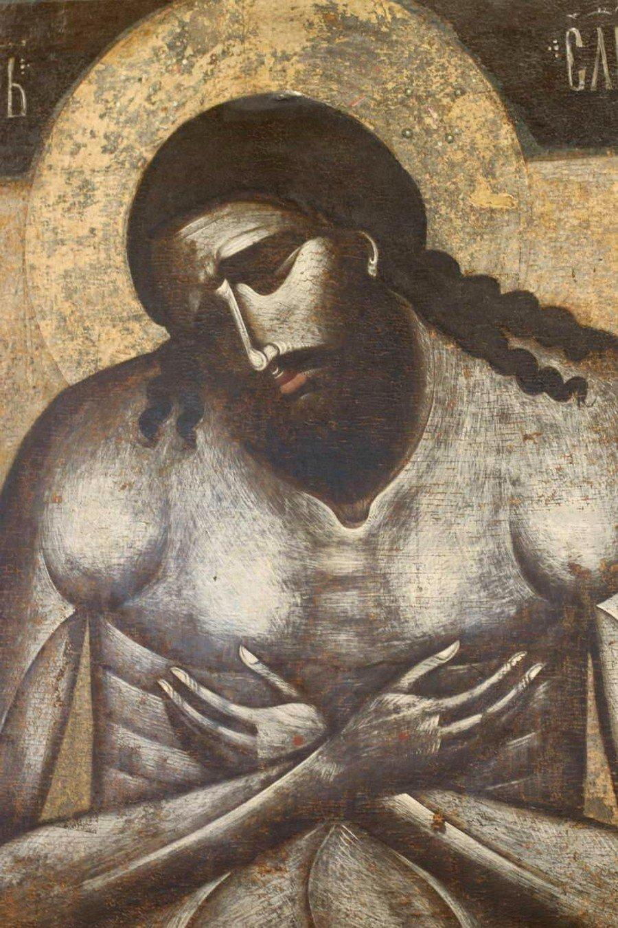 Христос во гробе (Христос Царь Славы). Балканская икона XIV века. ГТГ.