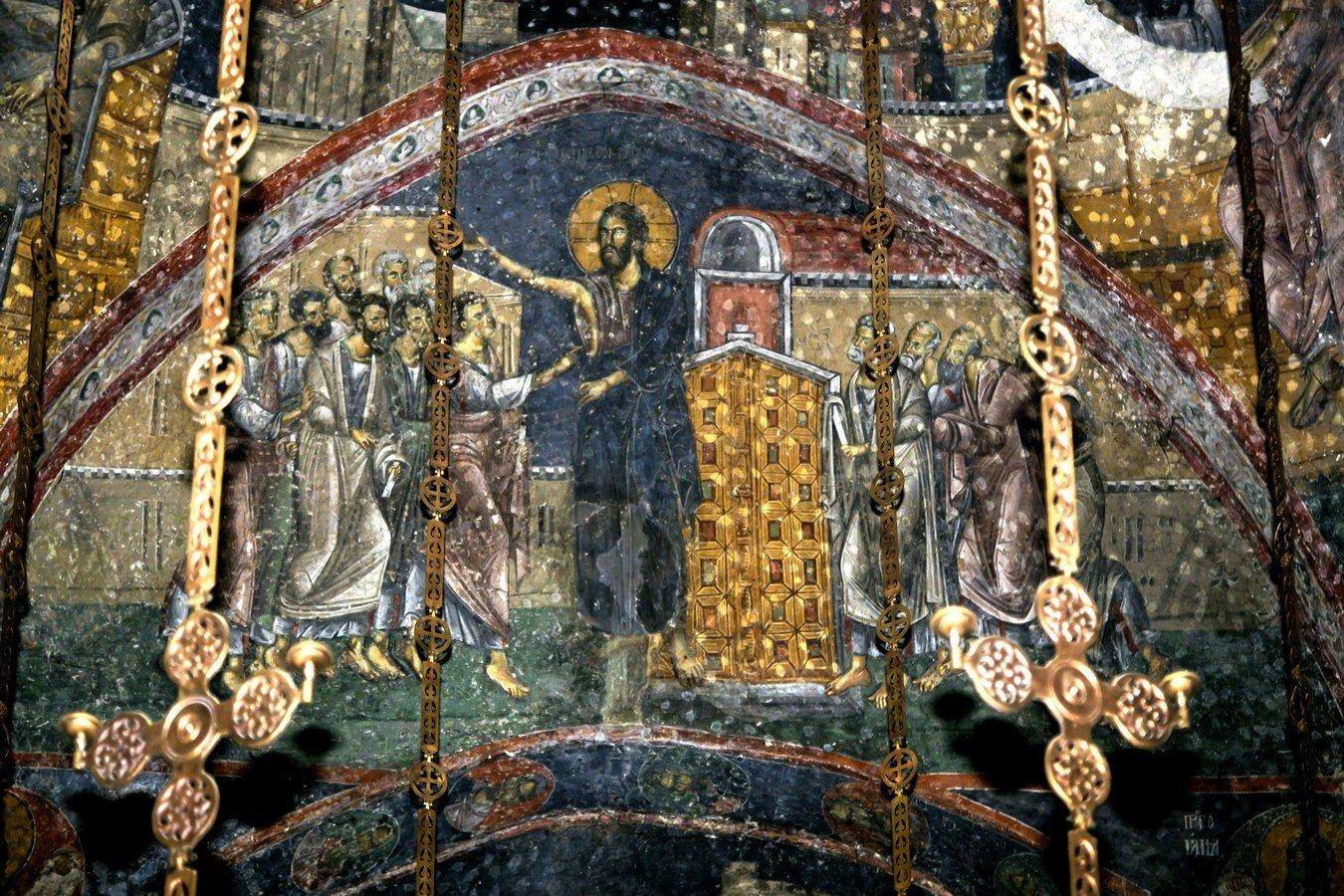 Уверение Апостола Фомы. Фреска церкви Святых Апостолов в монастыре Печская Патриархия, Косово и Метохия, Сербия. 1260 - 1263 годы.