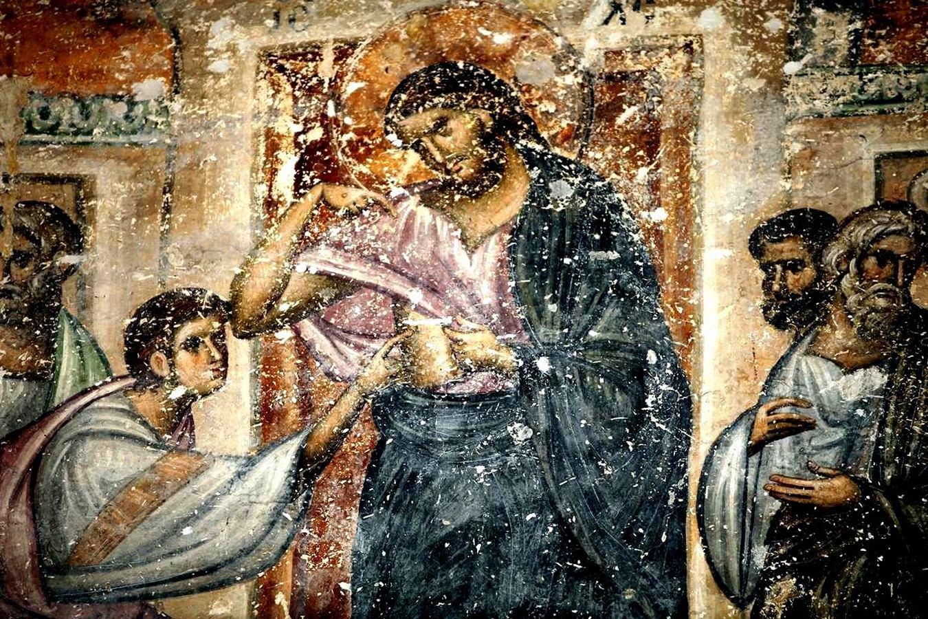 Уверение Апостола Фомы. Фреска церкви Святой Троицы в монастыре Сопочаны, Сербия. 1265 год.