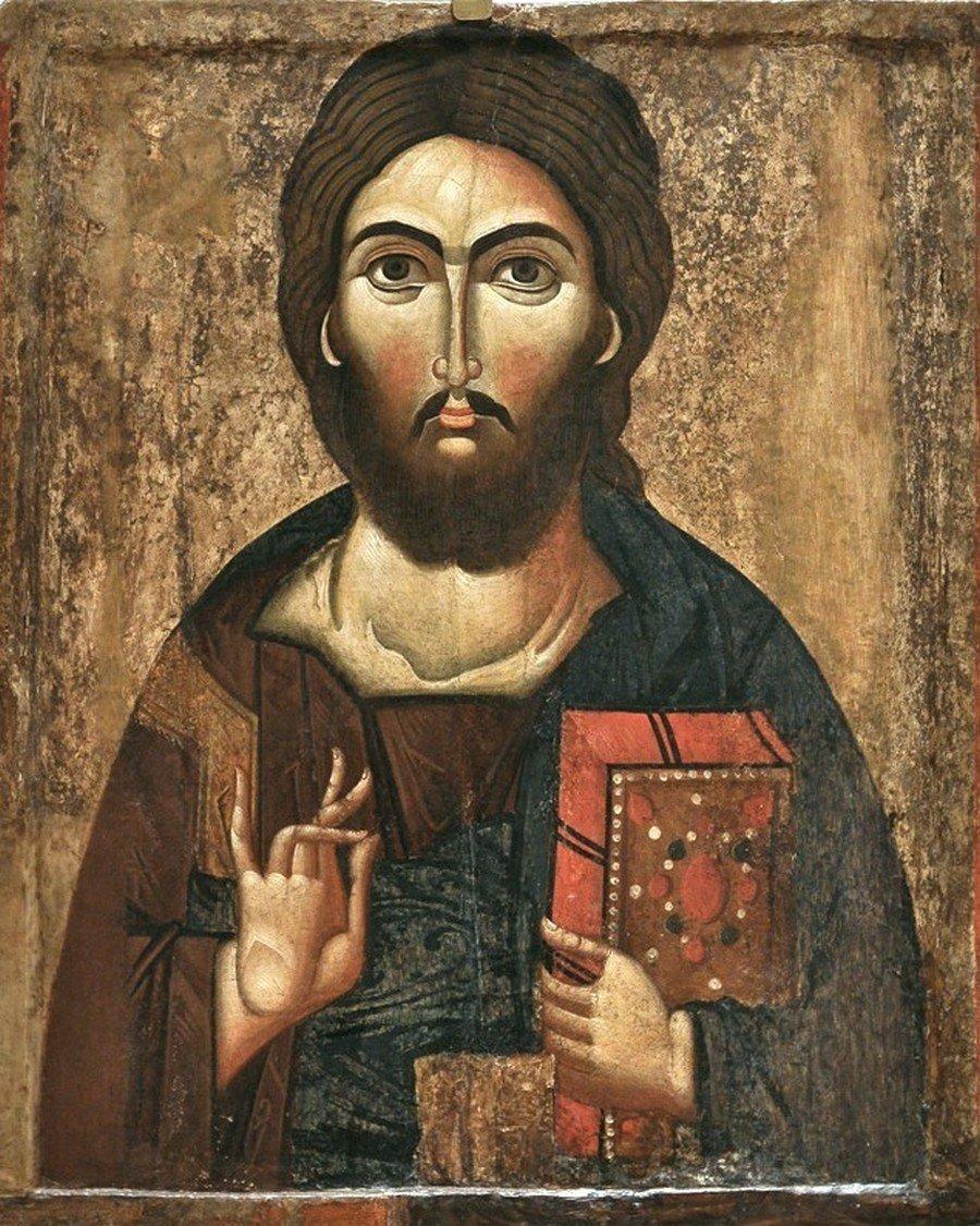 Христос Пантократор. Болгарская икона XIII века.