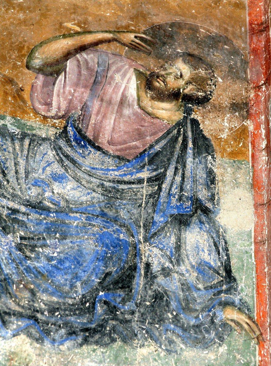 """Святой Апостол Иаков Зеведеев. Фрагмент фрески """"Преображение Господне"""". Церковь Святой Троицы в монастыре Сопочаны, Сербия. 1265 год."""