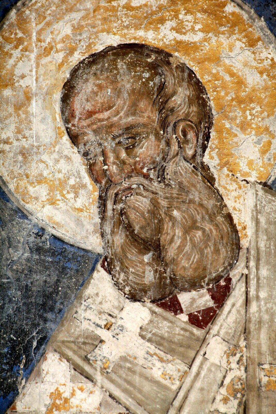 Святитель Афанасий Великий, Архиепископ Александрийский. Фреска церкви Святой Троицы в монастыре Манасия (Ресава), Сербия. До 1418 года.