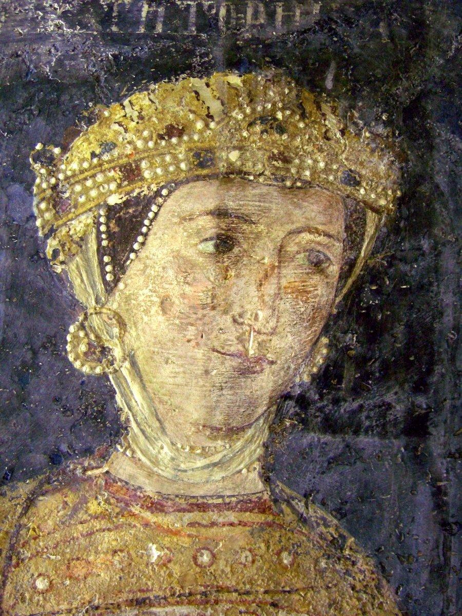 Ктиторский портрет Десиславы, супруги севастократора Калояна. Фреска церкви Святых Николая и Пантелеимона (Боянской церкви) близ Софии, Болгария. 1259 год.