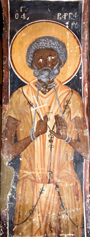 Святой Мученик Варвар, бывший разбойник. Фреска Лесновского монастыря, Македония. XIV век.