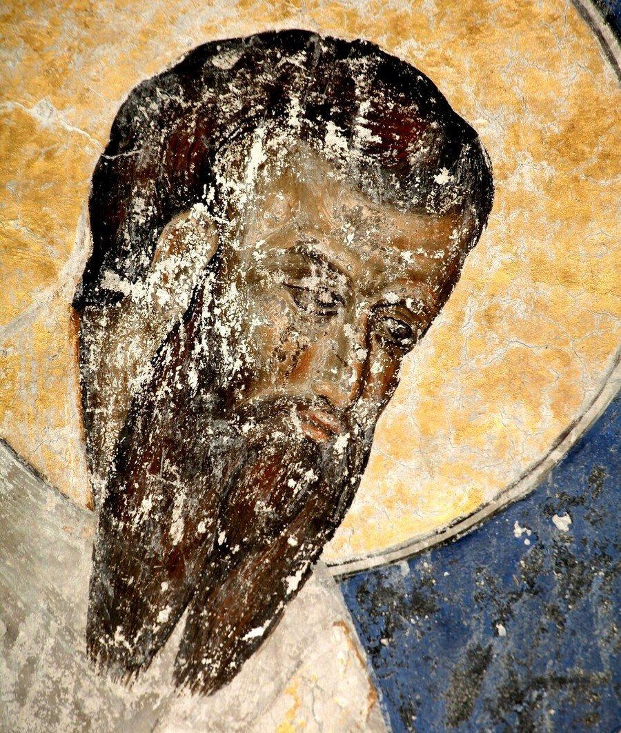 Святитель Савва, первый Архиепископ Сербский. Фреска церкви Святой Троицы в монастыре Манасия (Ресава), Сербия. До 1418 года.