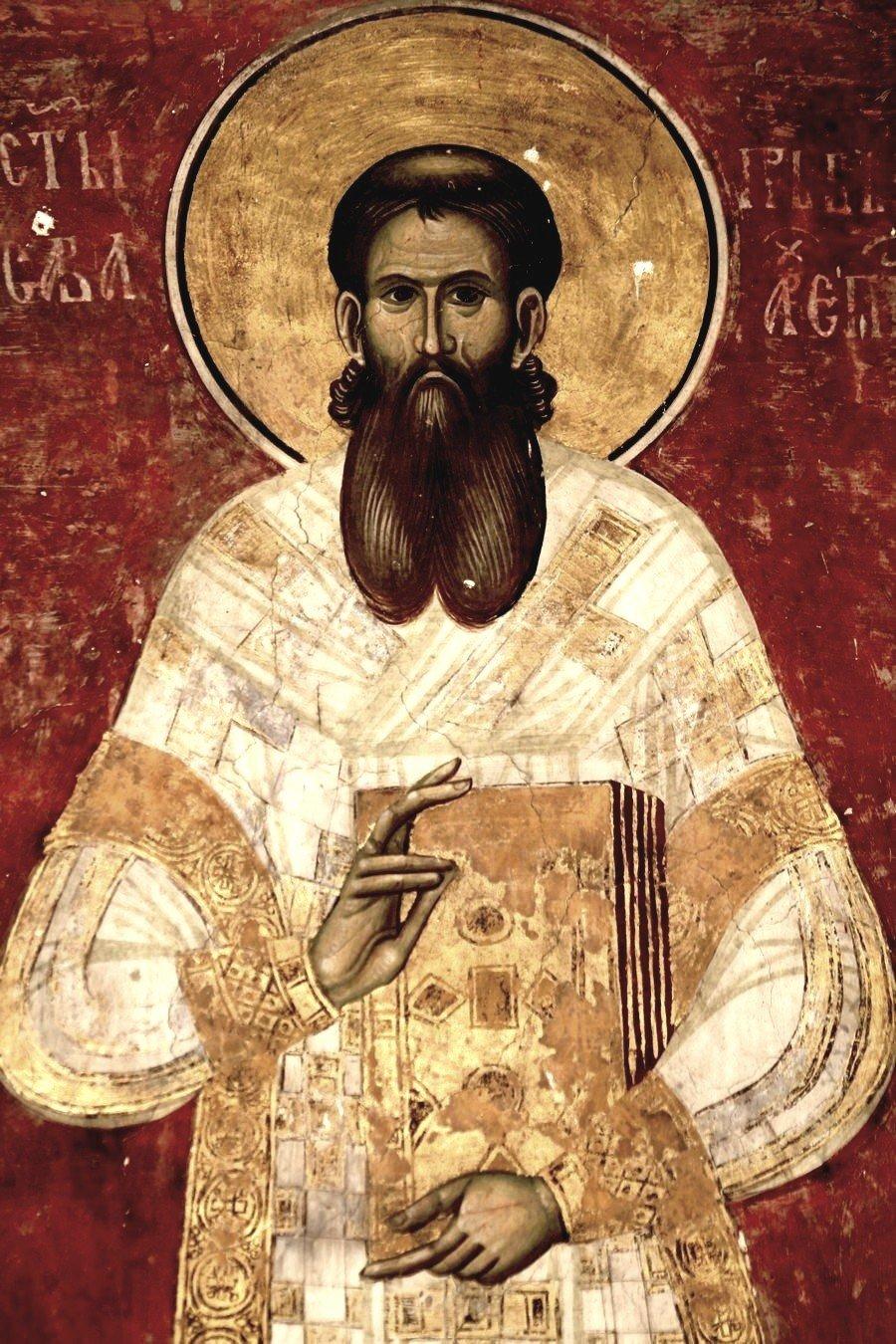 Святитель Савва, первый Архиепископ Сербский. Фреска церкви Святого Димитрия в монастыре Печская Патриархия, Косово и Метохия, Сербия. 1322 - 1324 годы.