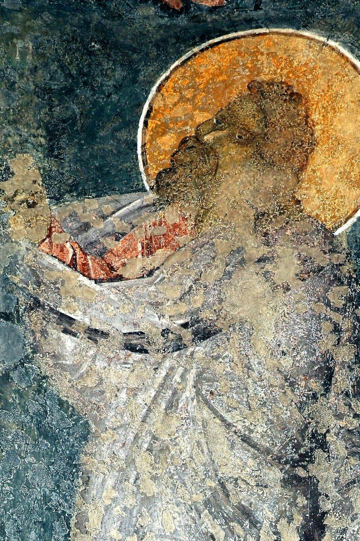 Святой Пророк Исаия. Фреска церкви Богородицы Левишки в Призрене, Косово и Метохия, Сербия. Около 1310 - 1313 годов. Иконописцы Михаил Астрапа и Евтихий.