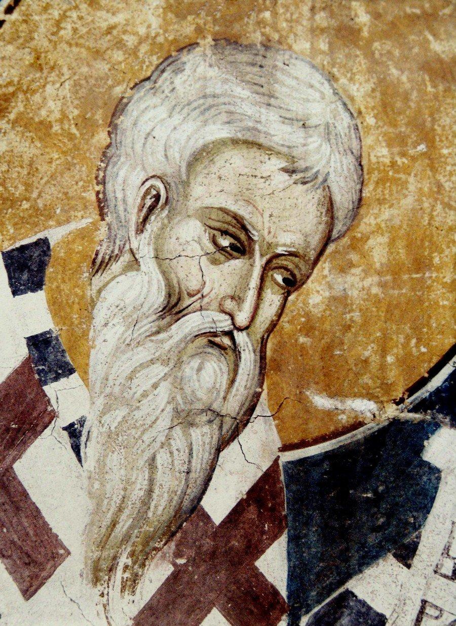 Святитель Епифаний, Епископ Кипрский. Фреска монастыря Высокие Дечаны, Косово и Метохия, Сербия. До 1350 года.