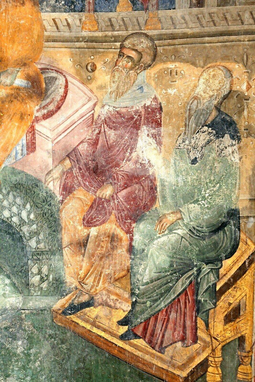 Преполовение Пятидесятницы. Фреска церкви Святой Троицы в монастыре Манасия (Ресава), Сербия. До 1418 года. Фрагмент.
