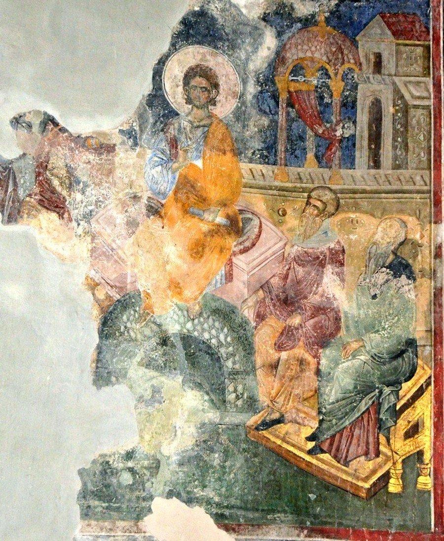 Преполовение Пятидесятницы. Фреска церкви Святой Троицы в монастыре Манасия (Ресава), Сербия. До 1418 года.