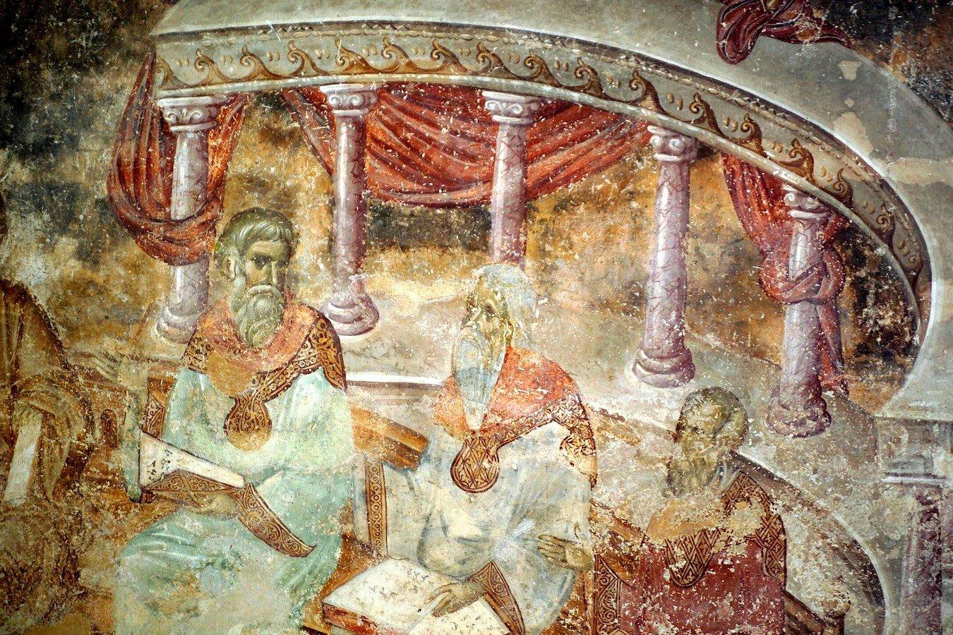 Преполовение Пятидесятницы. Фреска церкви Святой Троицы в монастыре Сопочаны, Сербия. 1265 год. Фрагмент.
