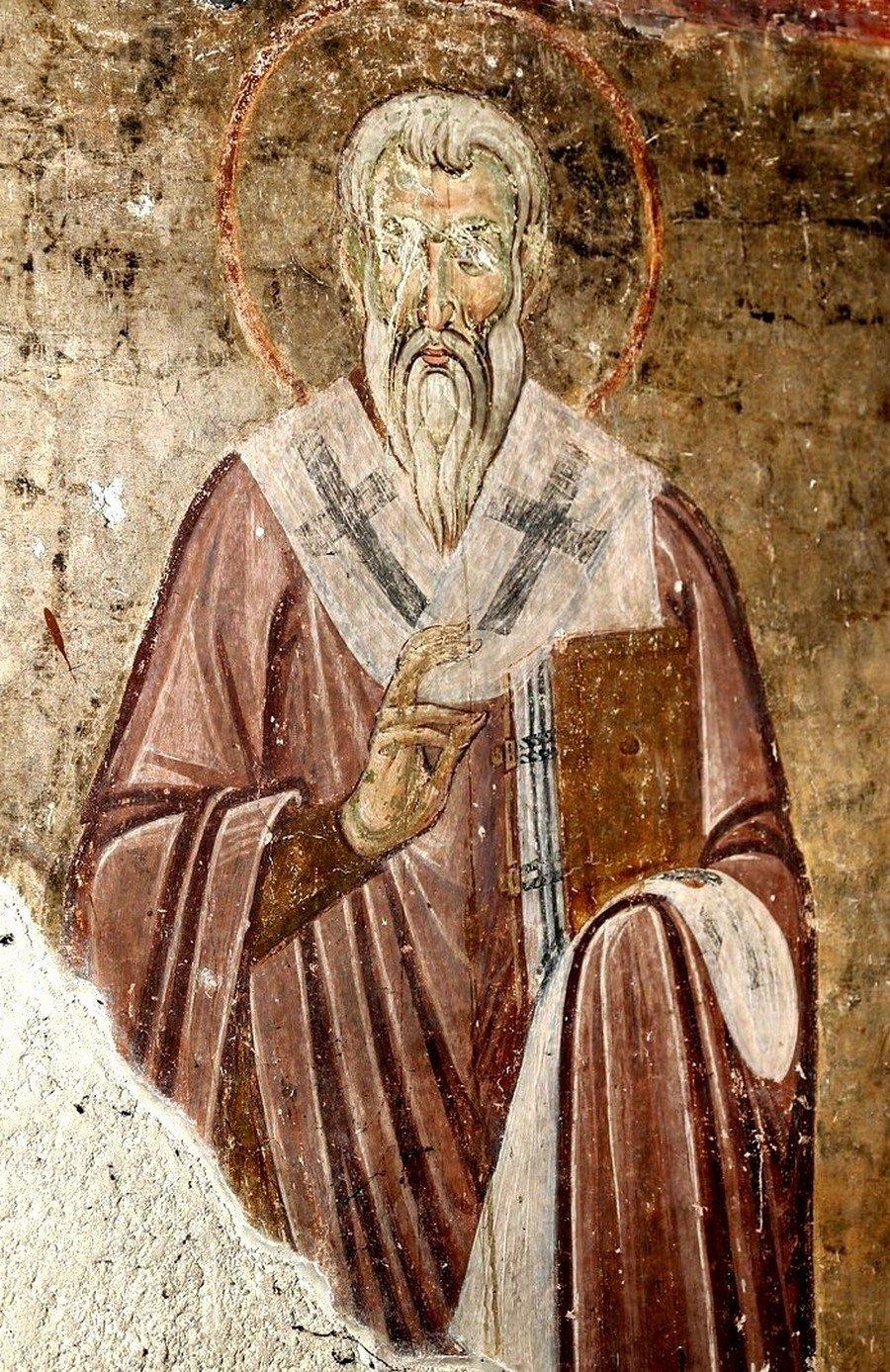 Святой Преподобный Ахиллий, Епископ Ларисийский. Фреска церкви Вознесения Господня в монастыре Милешева (Милешево), Сербия. XIII век.