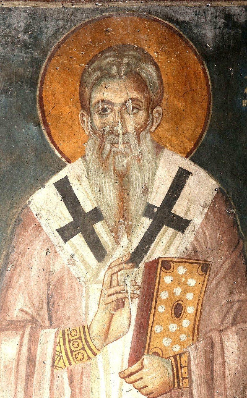 Святой Преподобный Ахиллий, Епископ Ларисийский. Фреска церкви Святого Ахиллия в Ариле (Арилье), Сербия. 1296 год.