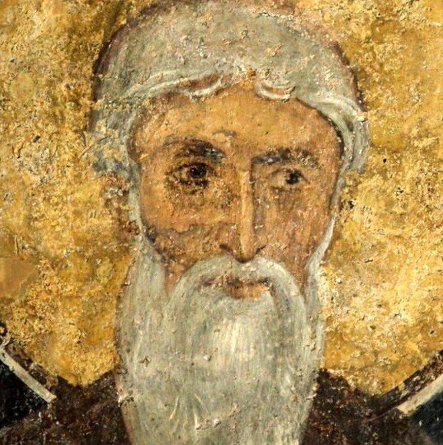Святой Преподобный Пахомий Великий. Фреска церкви Святых Николая и Пантелеимона (Боянской церкви) близ Софии, Болгария. 1259 год.