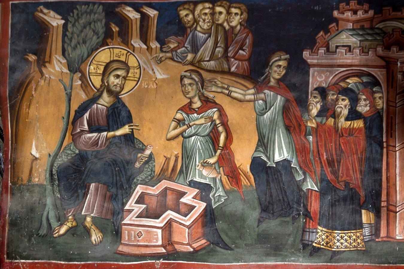 Беседа Христа с самарянкой. Фреска Лесновского монастыря (Македония). XIV век.