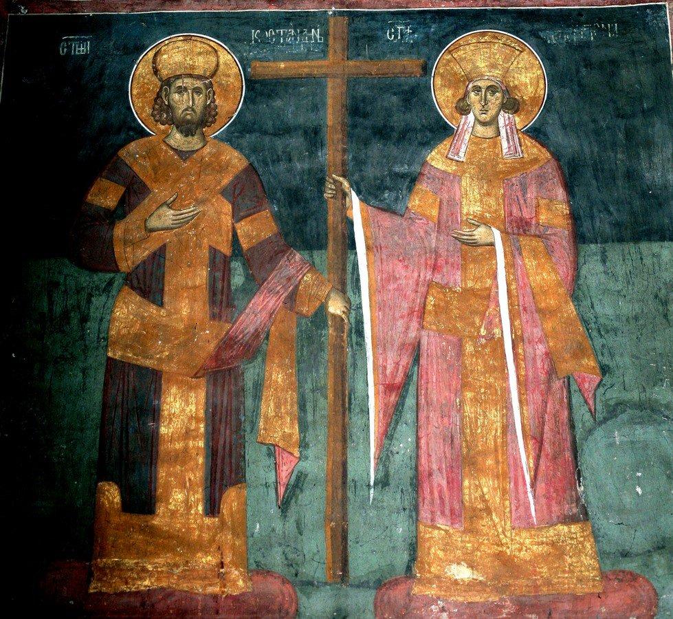 Святые Равноапостольные Царь Константин и Царица Елена. Фреска монастыря Высокие Дечаны, Косово и Метохия, Сербия. До 1350 года.