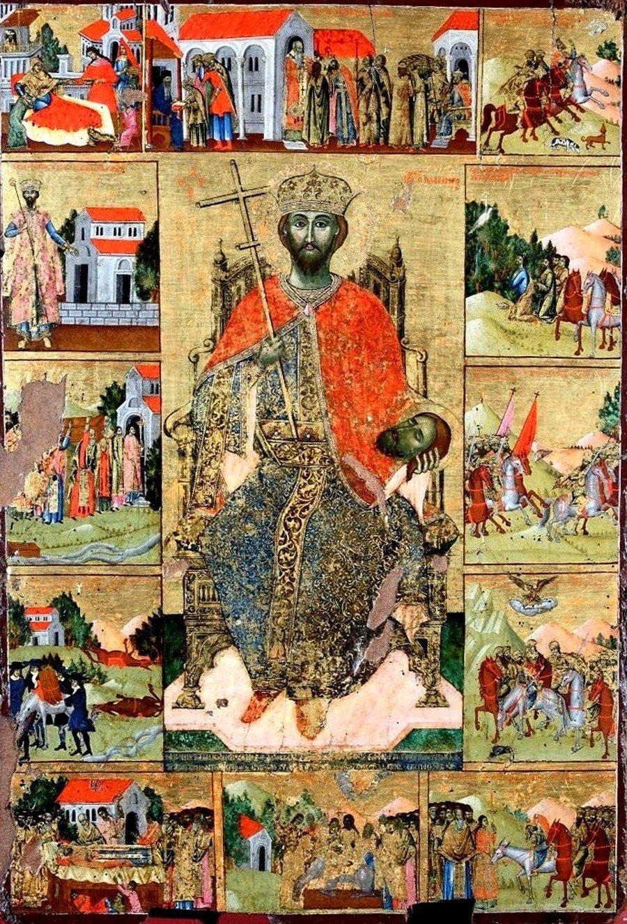 Святой Мученик Иоанн-Владимир, Князь Сербский. Икона. Албания, 1739 год. Иконописец Костандин Шпатараку.