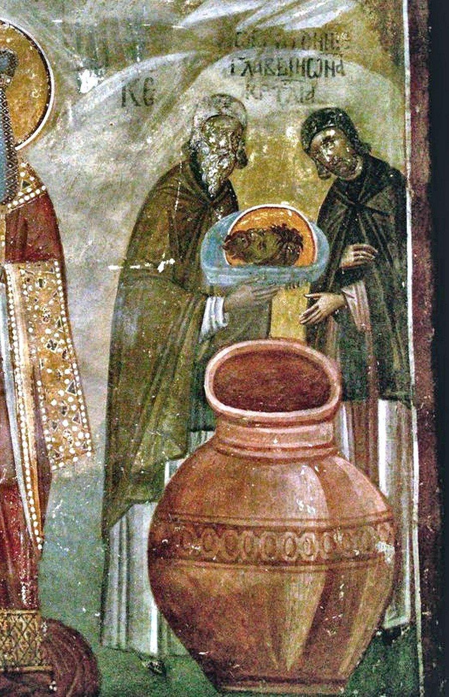 Третье обретение главы Святого Иоанна Предтечи. Фреска монастыря Грачаница, Косово и Метохия, Сербия. Около 1320 года.