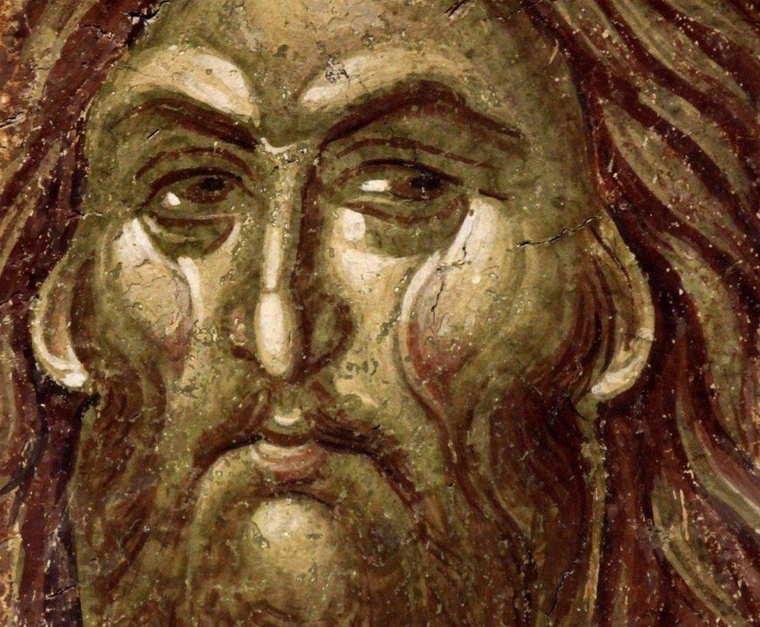 Святой Пророк, Предтеча и Креститель Господень Иоанн. Фреска монастыря Грачаница, Косово и Метохия, Сербия. Около 1320 года.