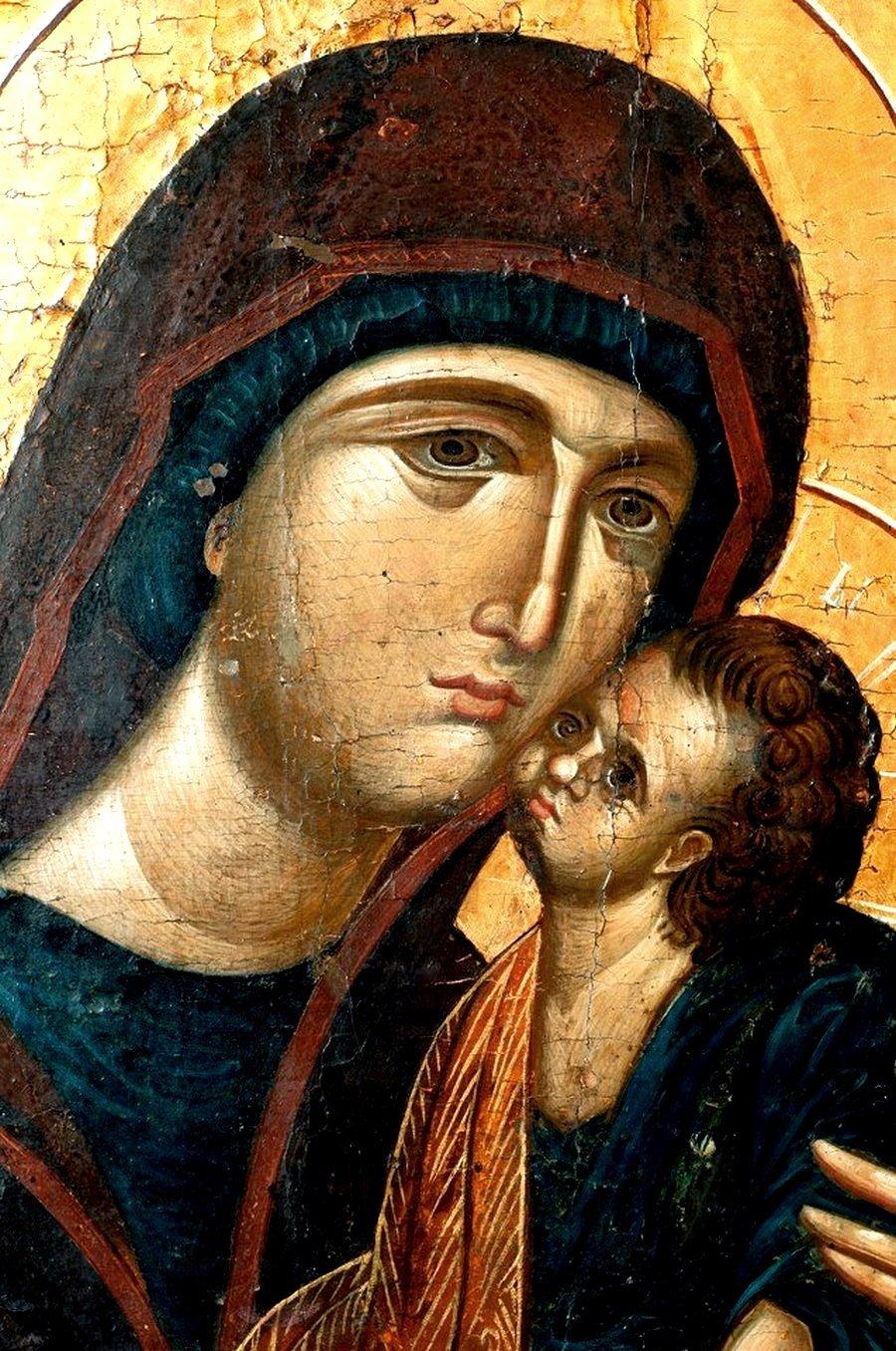 """Икона Божией Матери """"Милостивая"""". Болгария, конец XIV - начало XV века. Фрагмент."""