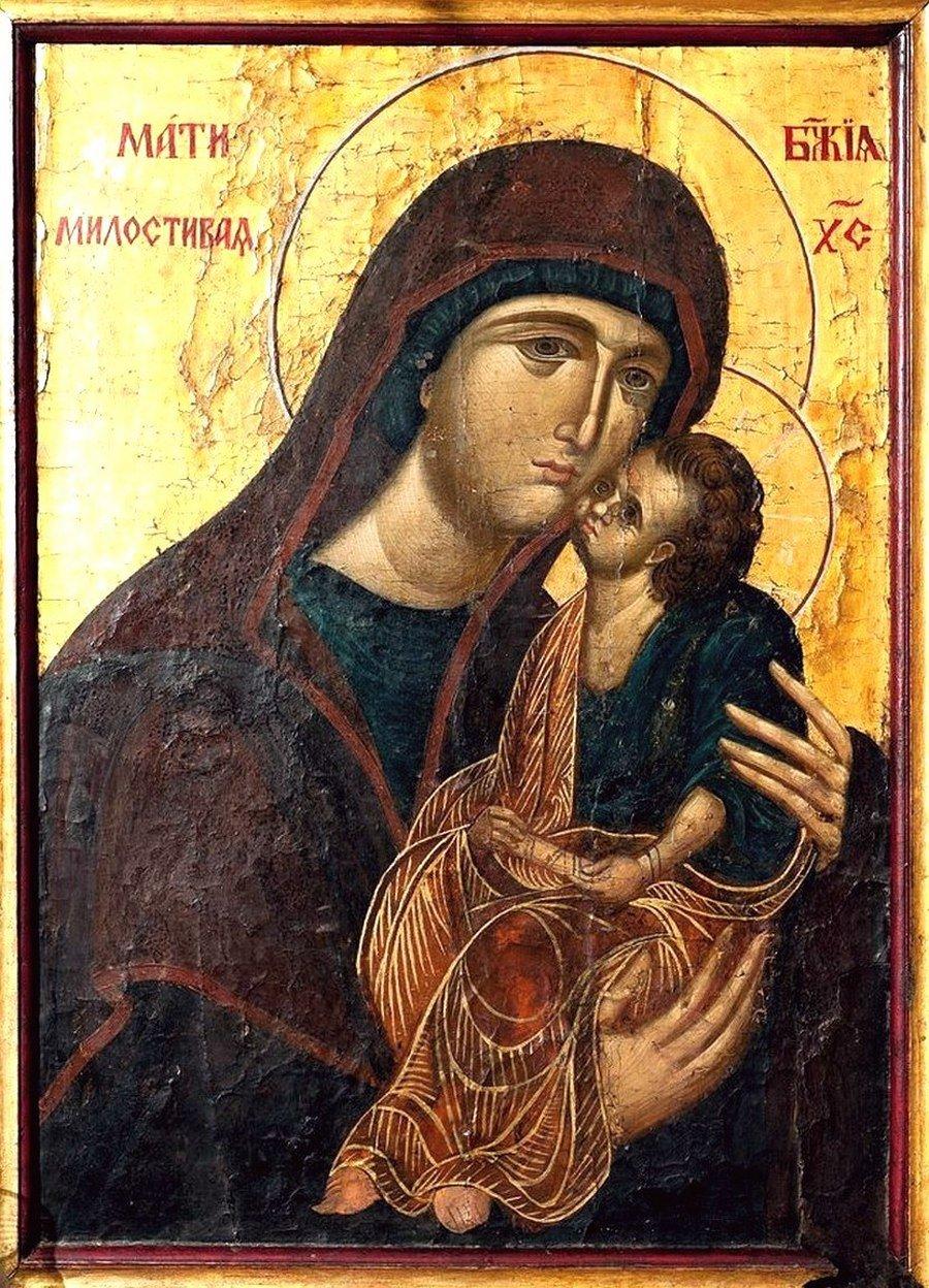 """Икона Божией Матери """"Милостивая"""". Болгария, конец XIV - начало XV века."""