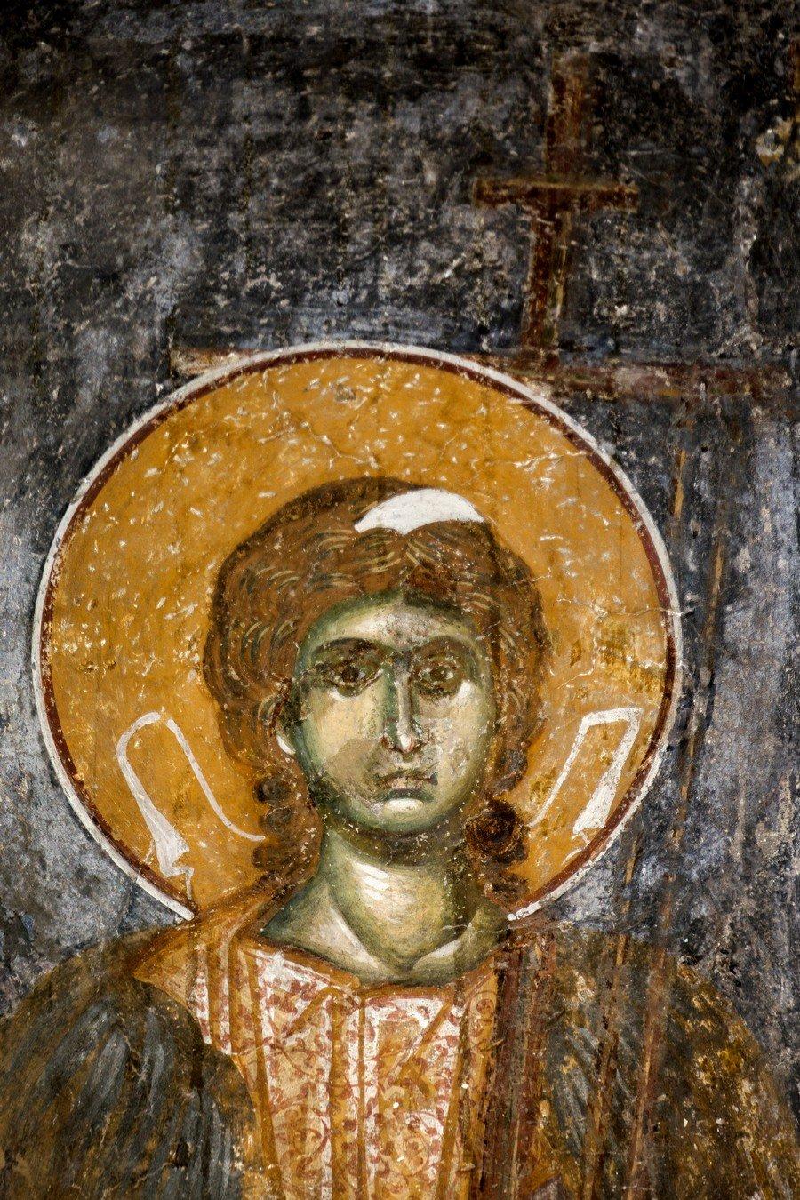 """Ангел Господень. Фреска церкви Вознесения Господня (""""Спасов дом"""") в монастыре Жича, Сербия. 1309 - 1316 годы."""