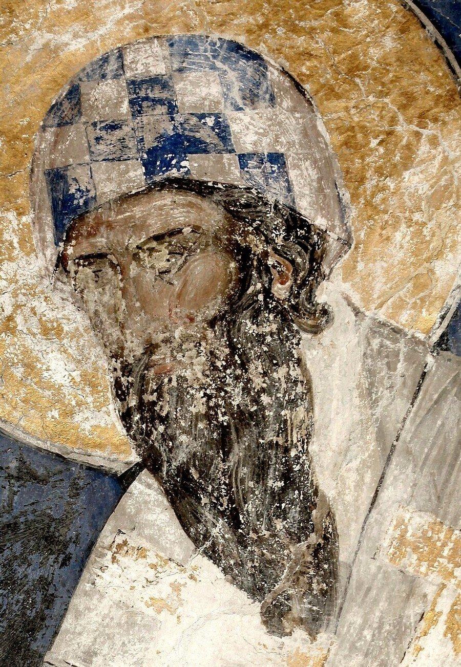 Святитель Кирилл, Архиепископ Александрийский. Фреска церкви Святой Троицы в монастыре Манасия (Ресава), Сербия. До 1418 года.