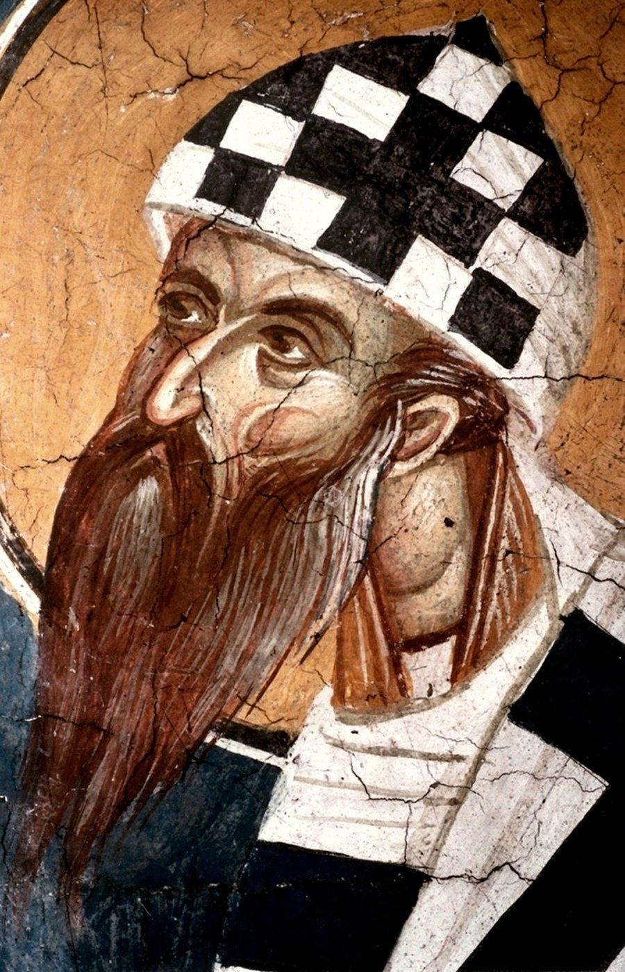 Святитель Кирилл, Архиепископ Александрийский. Фреска монастыря Высокие Дечаны, Косово и Метохия, Сербия. До 1350 года.