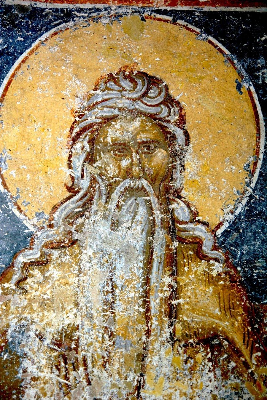 Святой Преподобный Онуфрий Великий. Фреска церкви Преображения Господня в монастыре Зрзе, Македония. 1368 - 1369 годы.