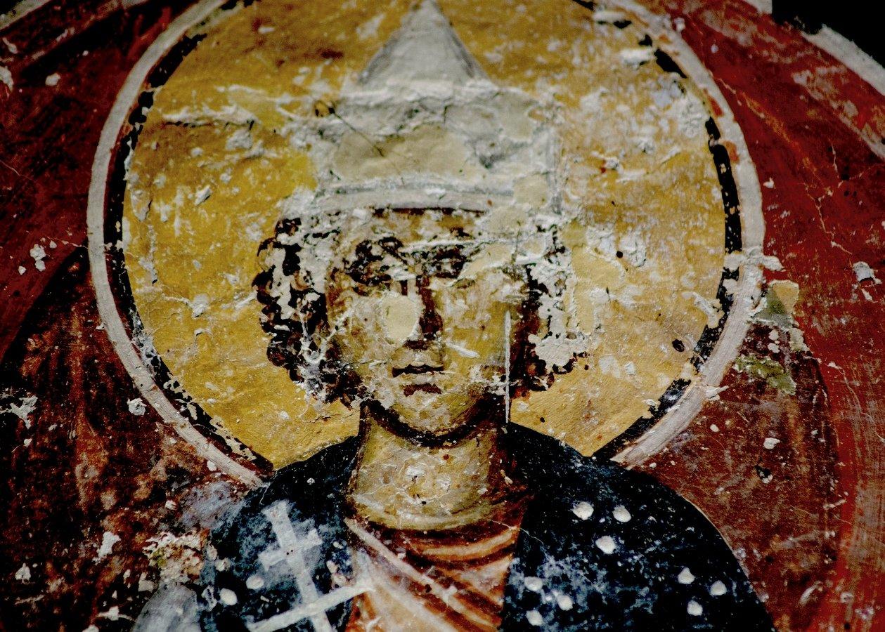 Святой Мученик Савел Персянин, Халкидонский. Фреска церкви Преображения Господня в монастыре Зрзе, Македония. 1368 - 1369 годы.