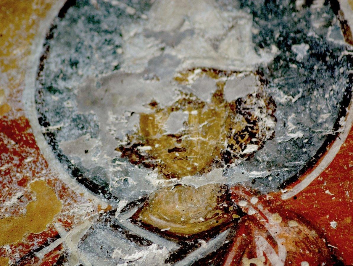 Святой Мученик Мануил Персянин, Халкидонский. Фреска церкви Преображения Господня в монастыре Зрзе, Македония. 1368 - 1369 годы.