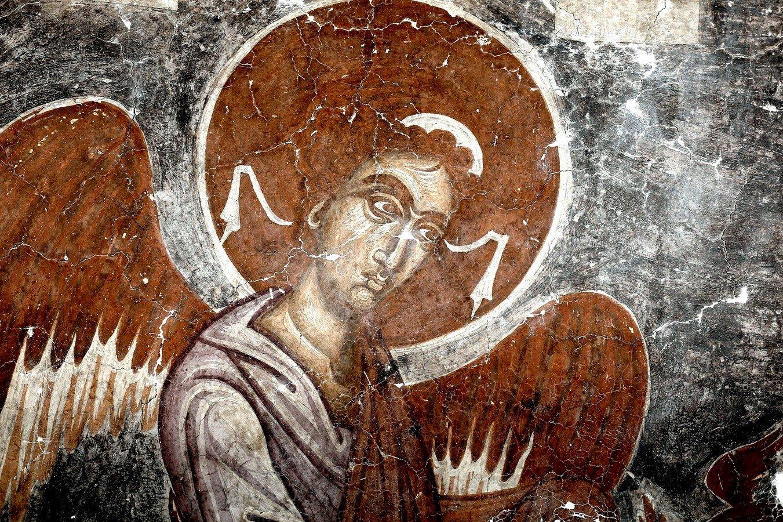 Ангел Господень. Фреска церкви Спаса в Призрене, Косово и Метохия, Сербия. Около 1348 года.
