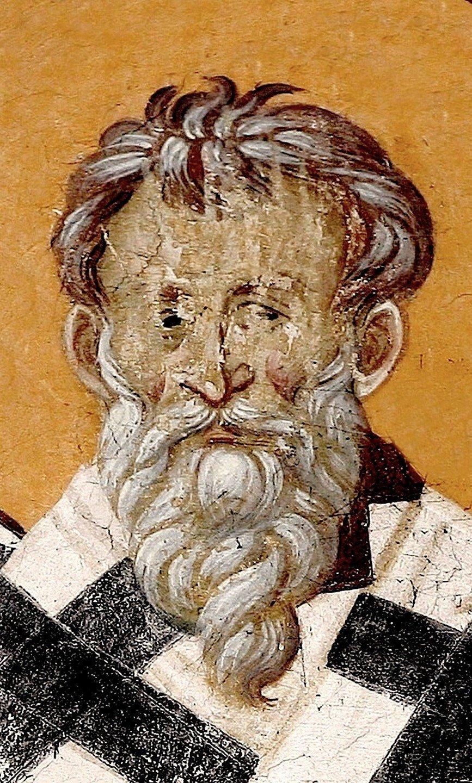 Священномученик Евсевий, Епископ Самосатский. Фреска монастыря Грачаница, Косово и Метохия, Сербия. Около 1320 года.