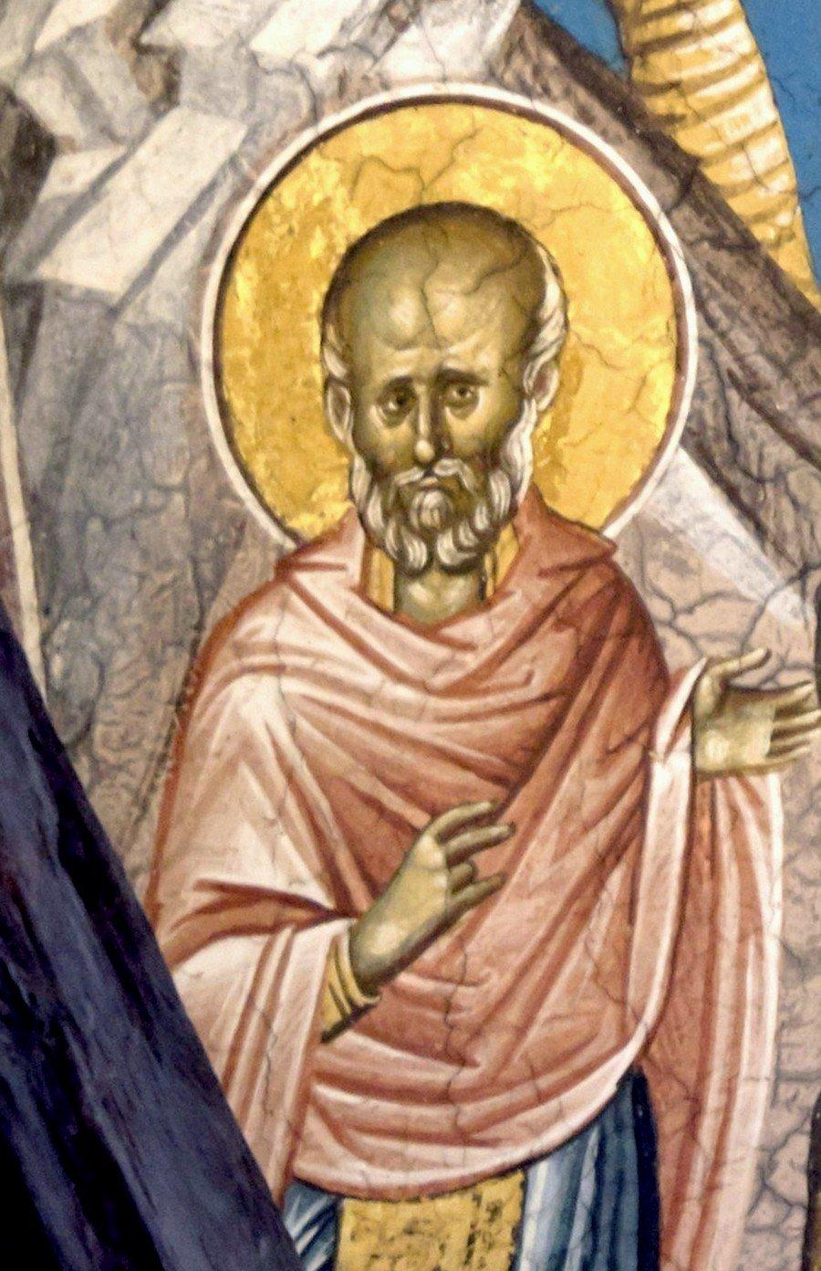 Святой Преподобный Сампсон Странноприимец. Фреска монастыря Высокие Дечаны, Косово и Метохия, Сербия. До 1350 года.