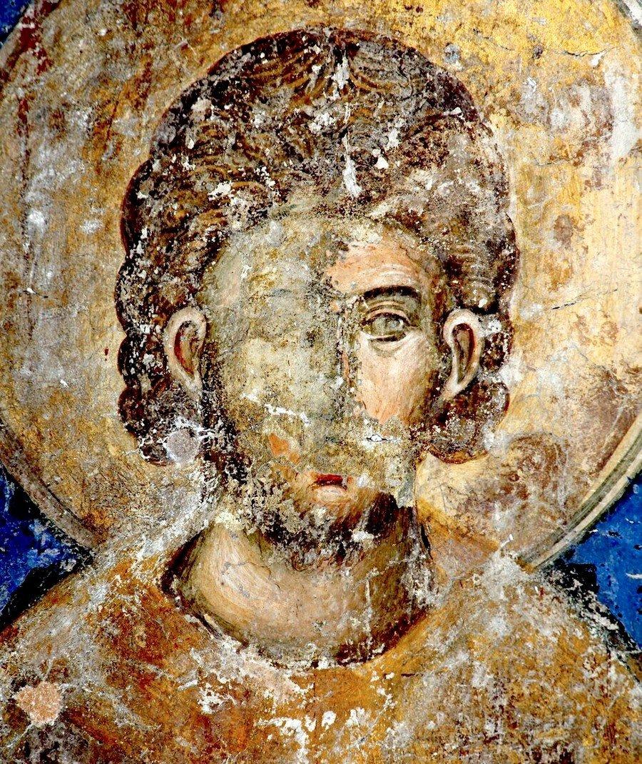 Святой Мученик Евгений. Фреска церкви Святой Троицы в монастыре Манасия (Ресава), Сербия. До 1418 года.