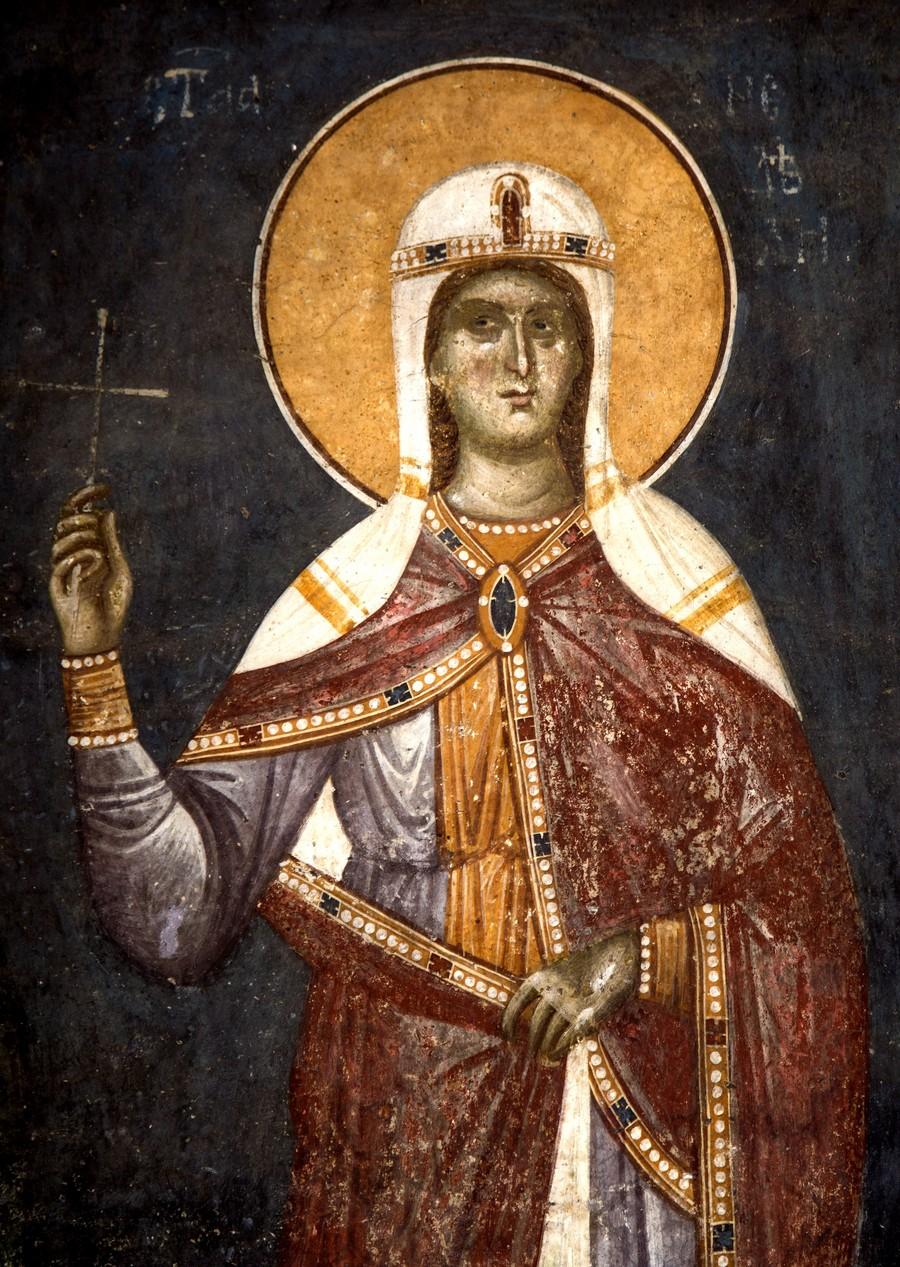 Святая Мученица Кириакия (Неделя) Никомидийская. Фреска монастыря Грачаница, Косово и Метохия, Сербия. Около 1320 года.