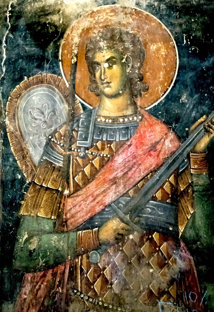 Святой Великомученик Прокопий Кесарийский. Фреска церкви Святого Николая в монастыре Псача, Македония. 1365 - 1377 годы.