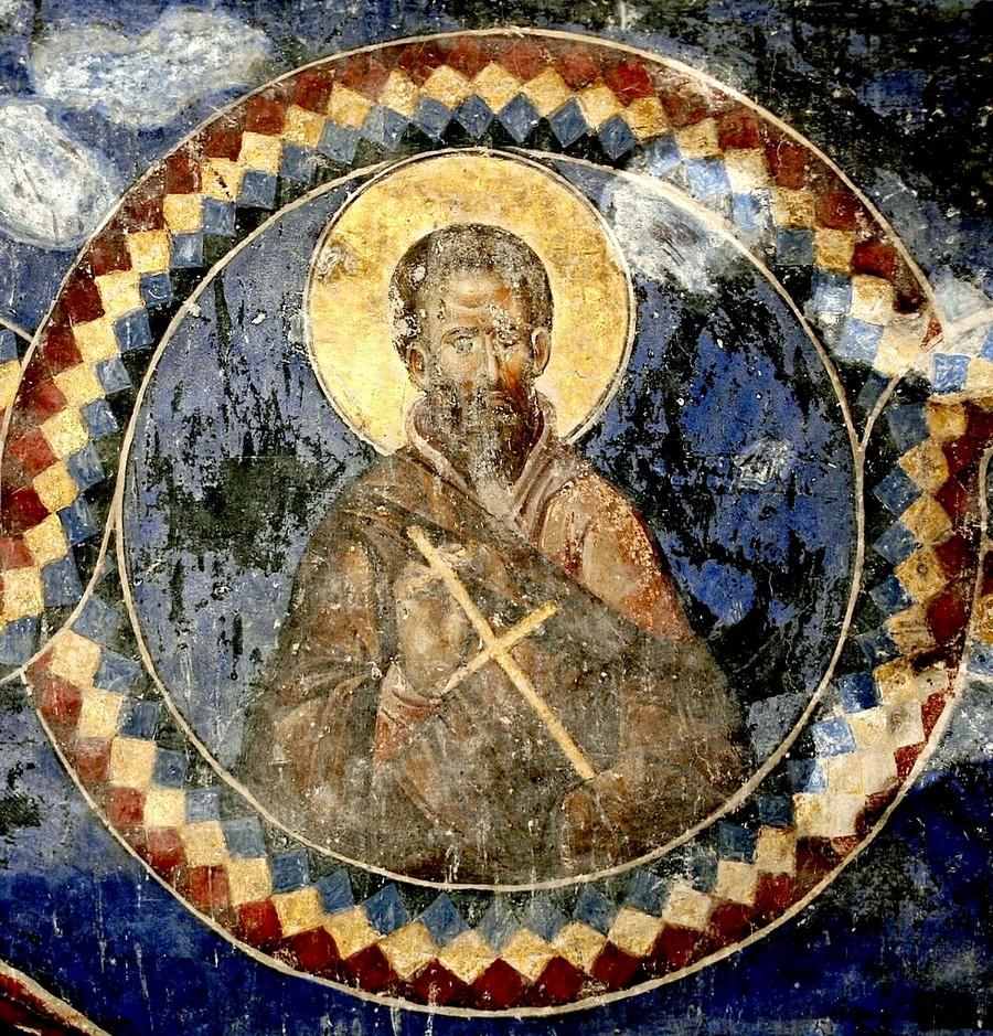 Преподобный. Фреска церкви Святой Троицы в монастыре Манасия (Ресава), Сербия. До 1418 года.