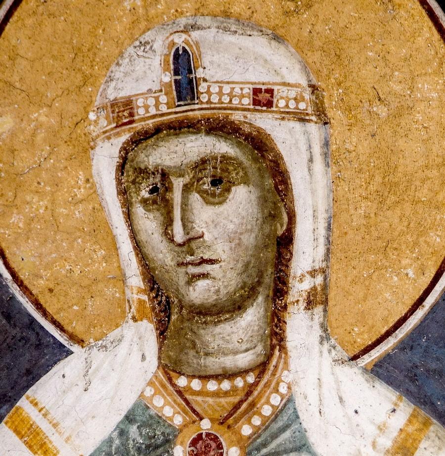 Святая Великомученица Евфимия Всехвальная. Фреска монастыря Грачаница, Косово и Метохия, Сербия. Около 1320 года.