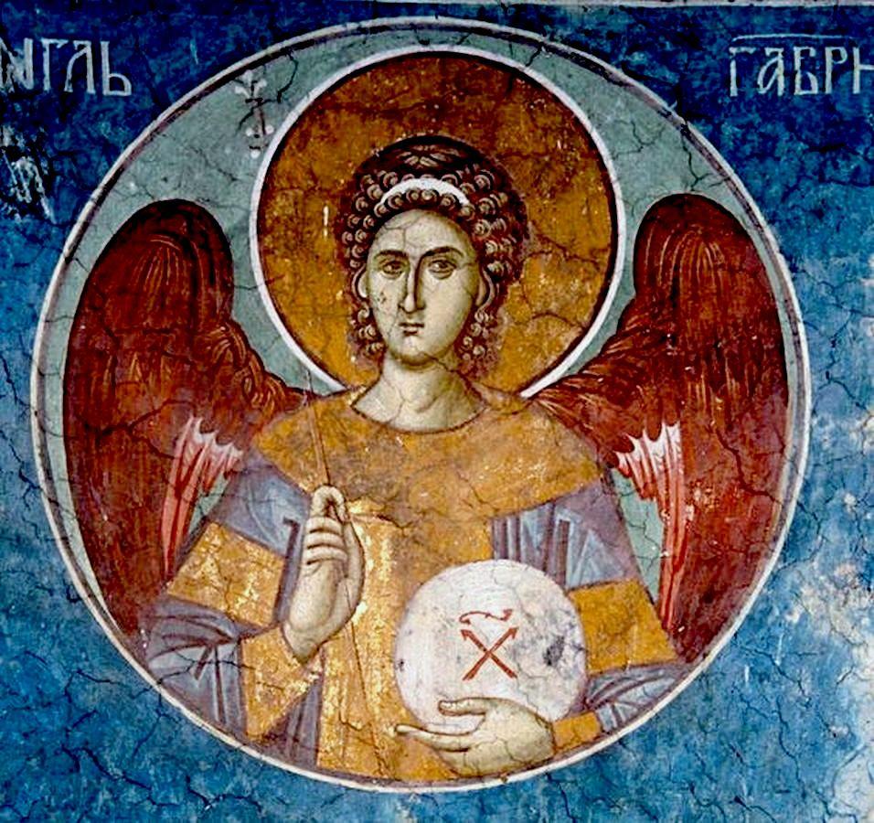 Архангел Гавриил. Фреска монастыря Высокие Дечаны, Косово и Метохия, Сербия. До 1350 года.
