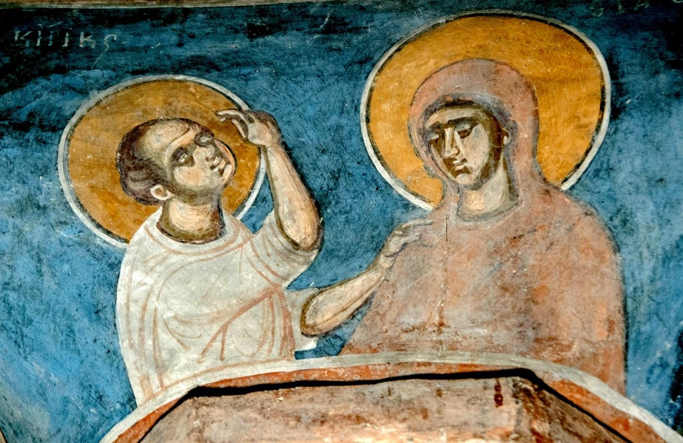 Святые Мученики Кирик и Иулитта. Фреска церкви Святого Димитрия Маркова монастыря близ Скопье, Македония. Около 1376 года.